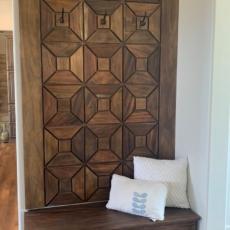 Custom wood entryway bench