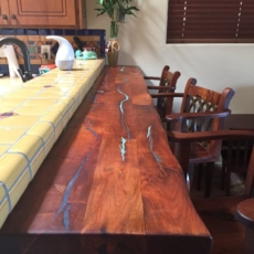 Custom Mesquite wood bar with Turquoise inlay
