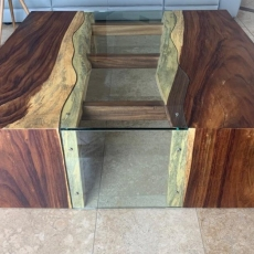 Custom Mesquite coffee table with glass inlay
